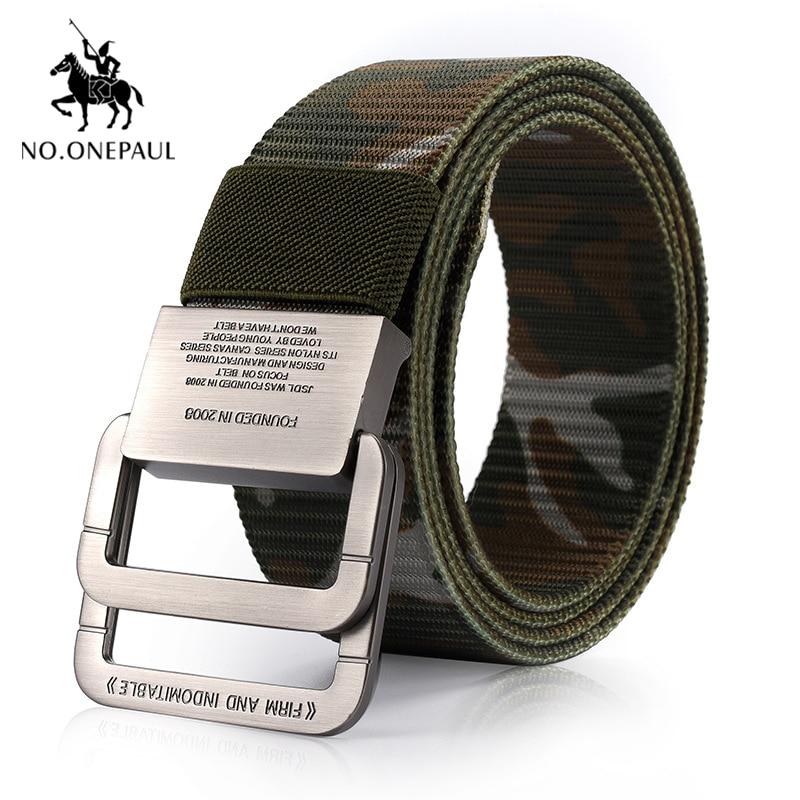 NO.ONEPAUL Men's Tactical Belt Outdoor Sports Hook Metal Buckle Tactical Belt Military High Quality Nylon Training Belts Men
