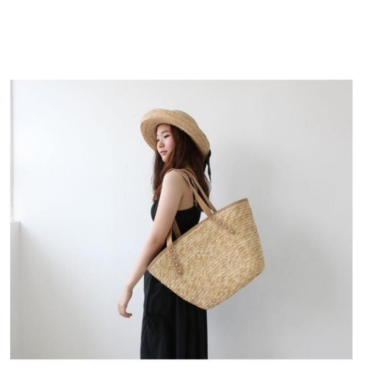 45x30 CM  Large-capacity Straw Bag With Solf Handle / Women  HandBag (not Included The Pendant) A2857