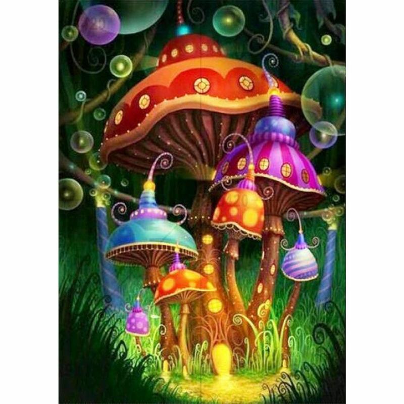 Diy Full Drill 5D Diamond Painting Mushroom Embroidery Crafts Stitch Home Decor