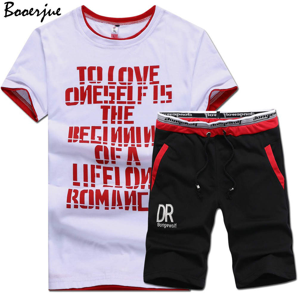 Summer Men Set 2 Piece Set Fitness Suit Sporting Suits Short Sleeve T Shirt + Shorts Quick Drying Casual Male Tracksuit Clothing