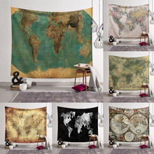 World Map Tapestry Wall Hanging Tapestry Carpet Psychedelic Bedspread Wall Cloth Tapestries Decor Bedroom Map Cloth цена 2017