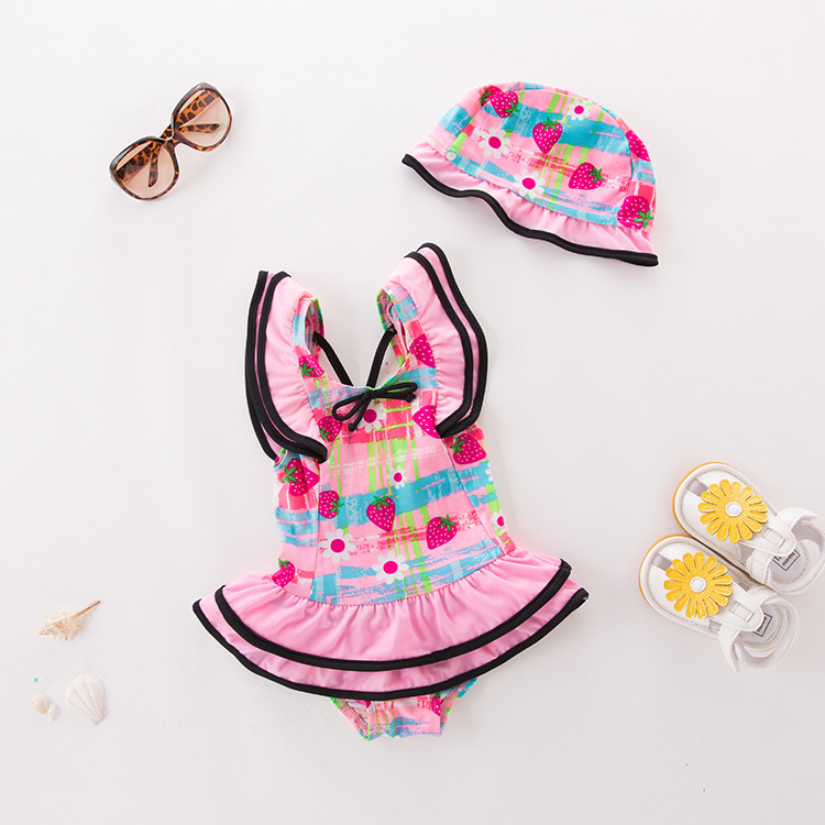 Girl'S One-piece Swimming Suit Pink Black Edge Strawberry Hooded-Children Hot Springs Bathing Suit
