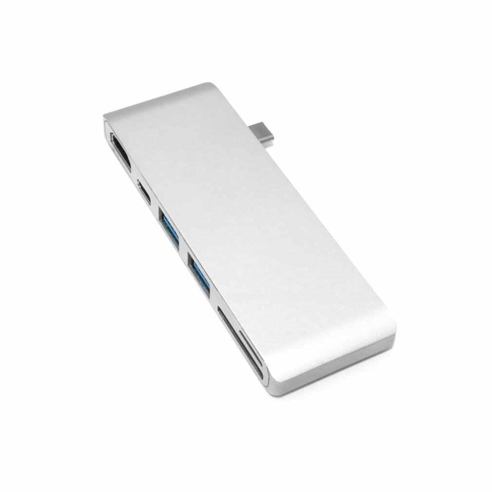 Nieuwste 6 in 1 Type-C Hub 4K HDMI + Dual USB 3.0 + Type C + secure Digital + TF Kaartlezer Poort Combo Hub Adapter voor Laptop