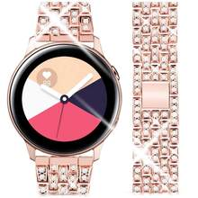 20MM 22MM luksusowy pasek do Samsung Galaxy zegarek 3 aktywny 2 zespół 42mm 46mm biegów s3 diament pętli stali dla xiaomi amazfit huawei