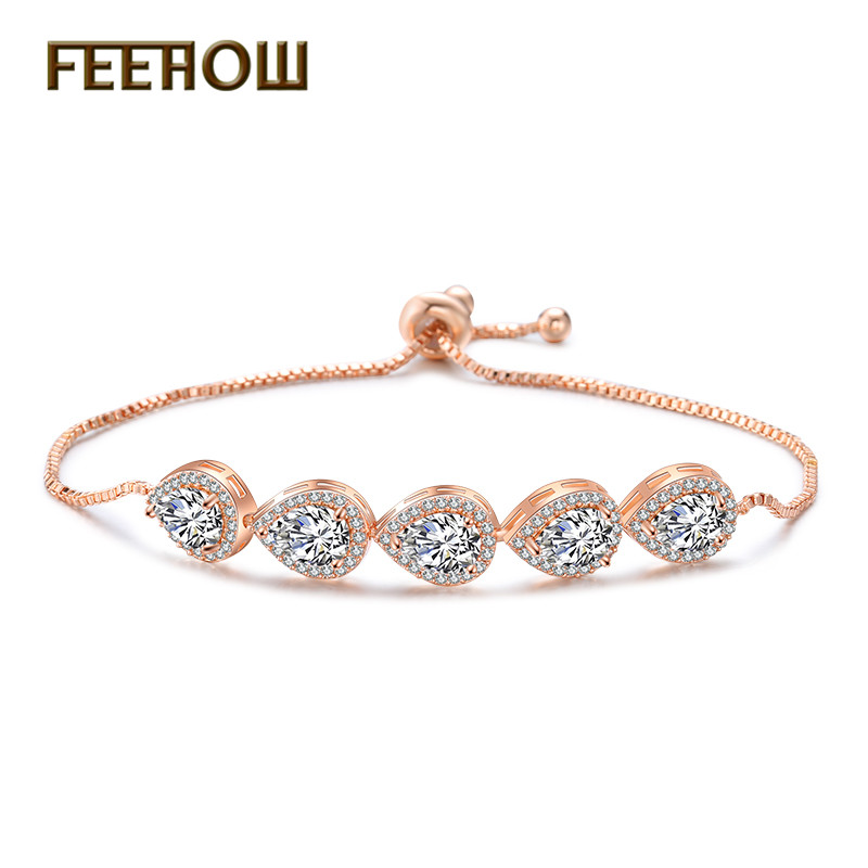FEEHOW 2019 New Arrival Fashion Water Drop Cubic Zirconia Adjustable Bracelets & Bangles for Women Jewelry FWBP2094