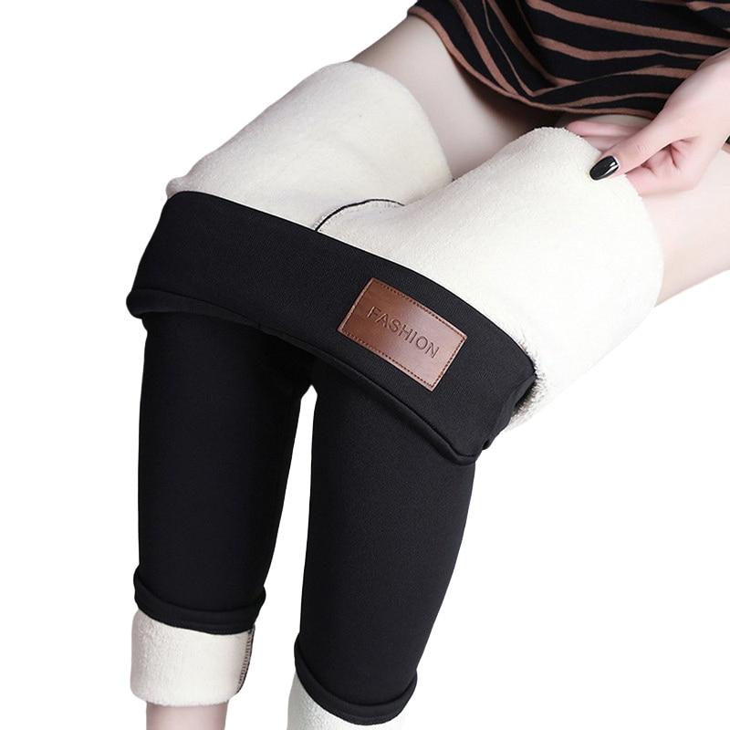 CHRLEISURE Warm Women's Plus Velvet Winter Leggings Ankle-Length Keep Warm Solid Pants High Waist Large Size Women Leggings 15