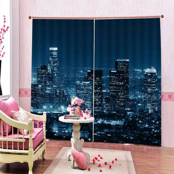 Luxury Blackout 3D Window Curtains For Living Room Bedroom Customized size blue city night curtains Blackout curtain