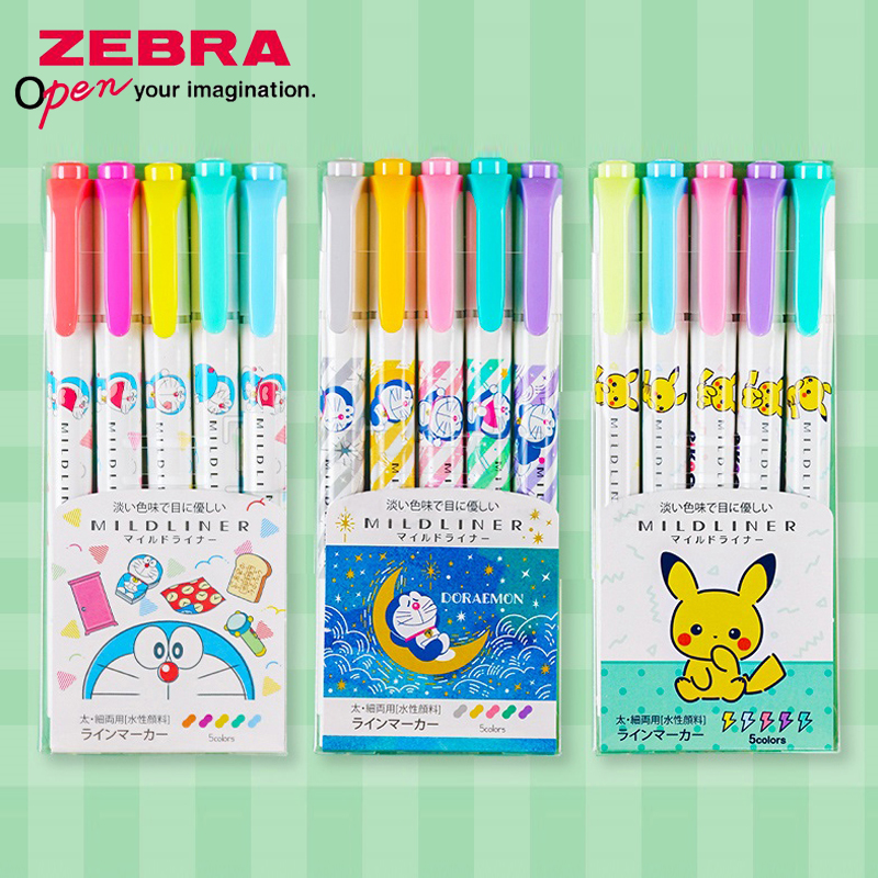 Limited ZEBRA WKT7 Highlighter 5 Color Set Pikachu Doraemon Toy Story Highlighter Highlighter Mildliner