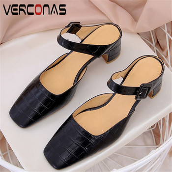 VERCONAS 2020 Fashion Mules Woman Sandals Woman Pumps Brand Design Genuine Leather Concise Square Toe Square Heeled Shoes Woman