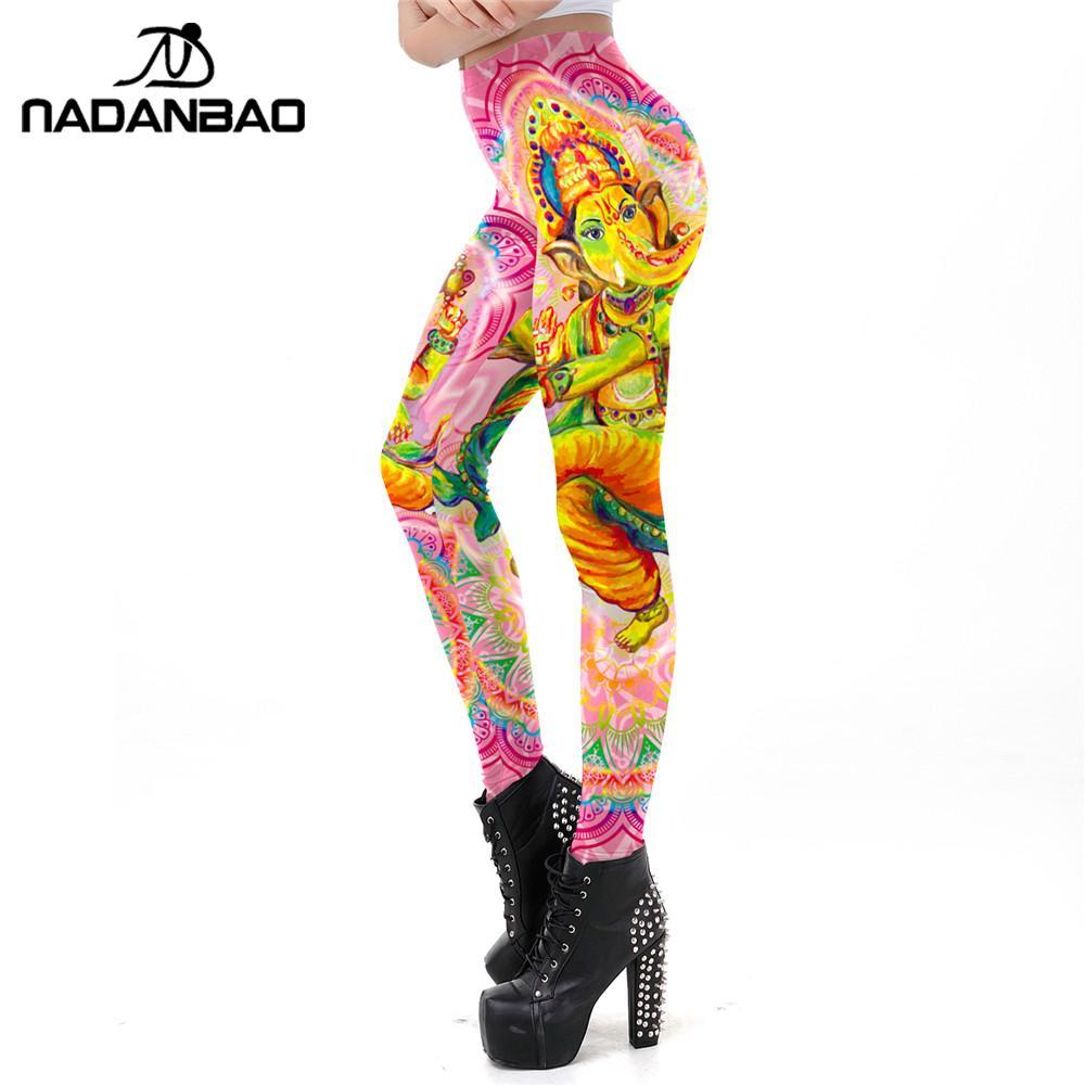 NADANBAO India Ganesa Leggings For Women Classic Mandala Printing Fitness Leggins Elastic Digital Printed Workout Legins