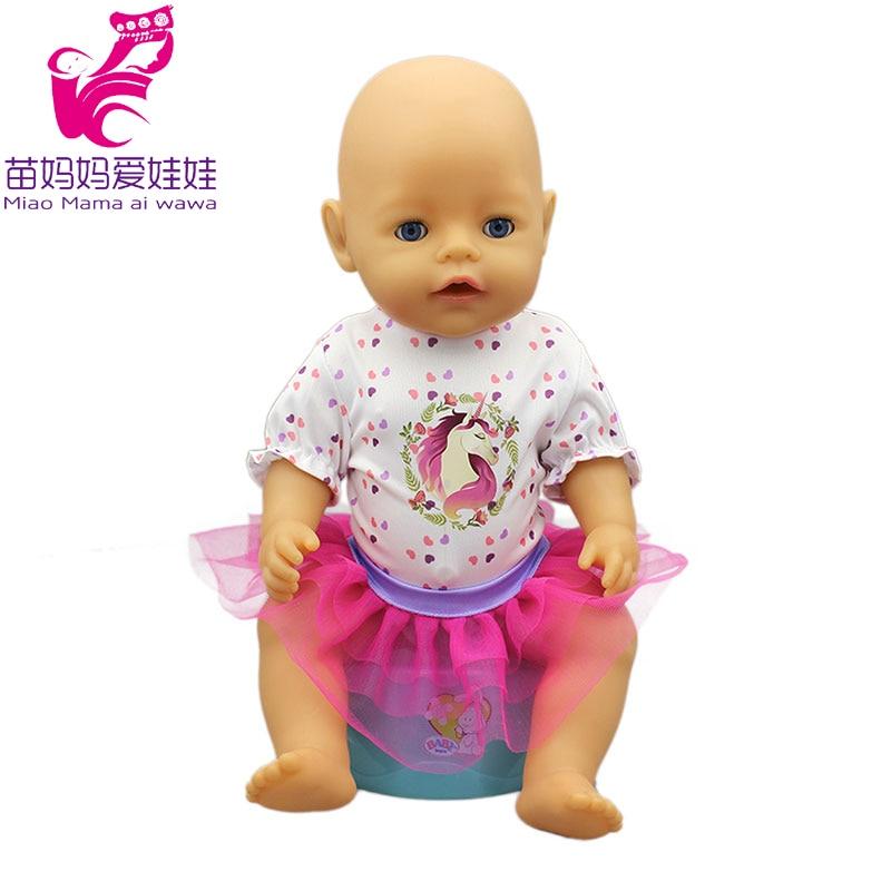 Одежда для новорожденных; платье-рубашка с единорогом для куклы 18 дюймов; кружевная юбка-пачка