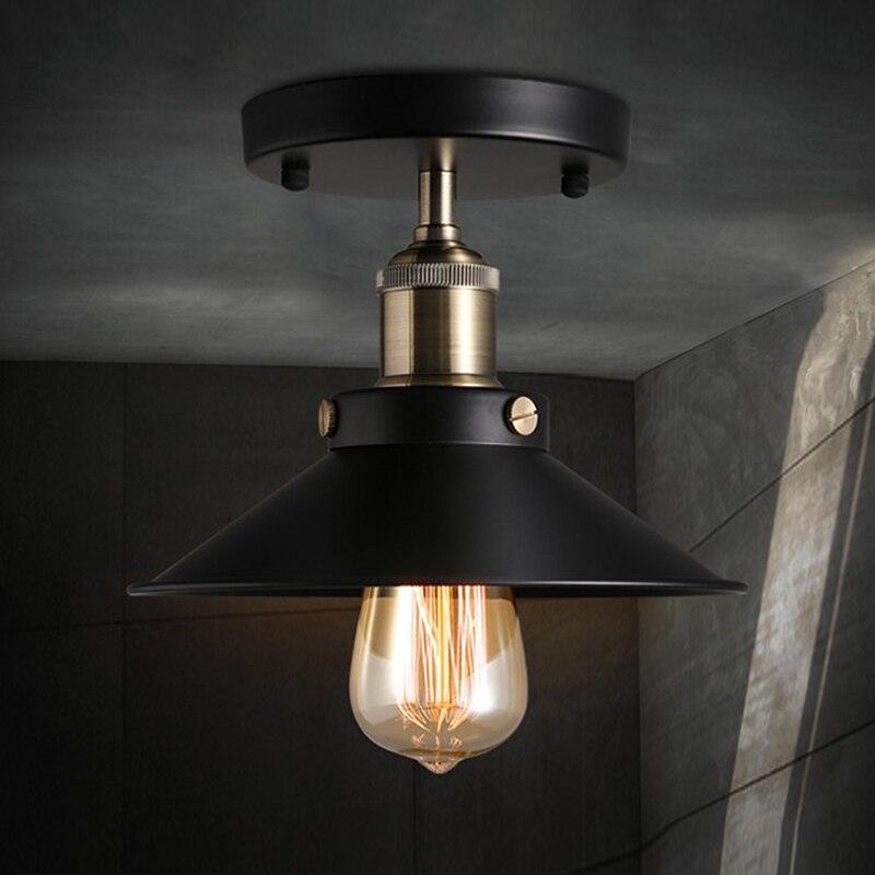 Edison Vintage American E27 E26 Ceiling Lamp Metal Black Aisle Lights Balcony Ceiling Lamps For Home Modern Vintage Decorations