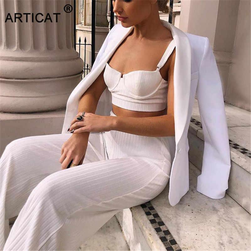 Articat 白ツーピースセット女性ニットトラックストラップレスのクロップトップとパンツセクシーな 2 ピースセットレディース衣装