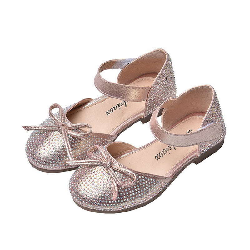 2020New Baby Girl Shoes Kids Children Rhinestone Bowknot Princess Shoes For Girls Single Shoes For Wedding And Party Pink Silver