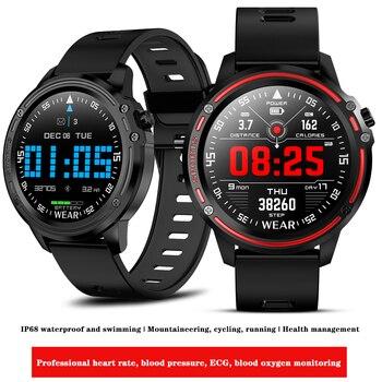 L8 Men Smart Watch ECG PPG Heart Rate Blood Pressure Fitness Tracker IP68 Waterproof Wristwatch Business Smartwatch VS L5 L7 L9