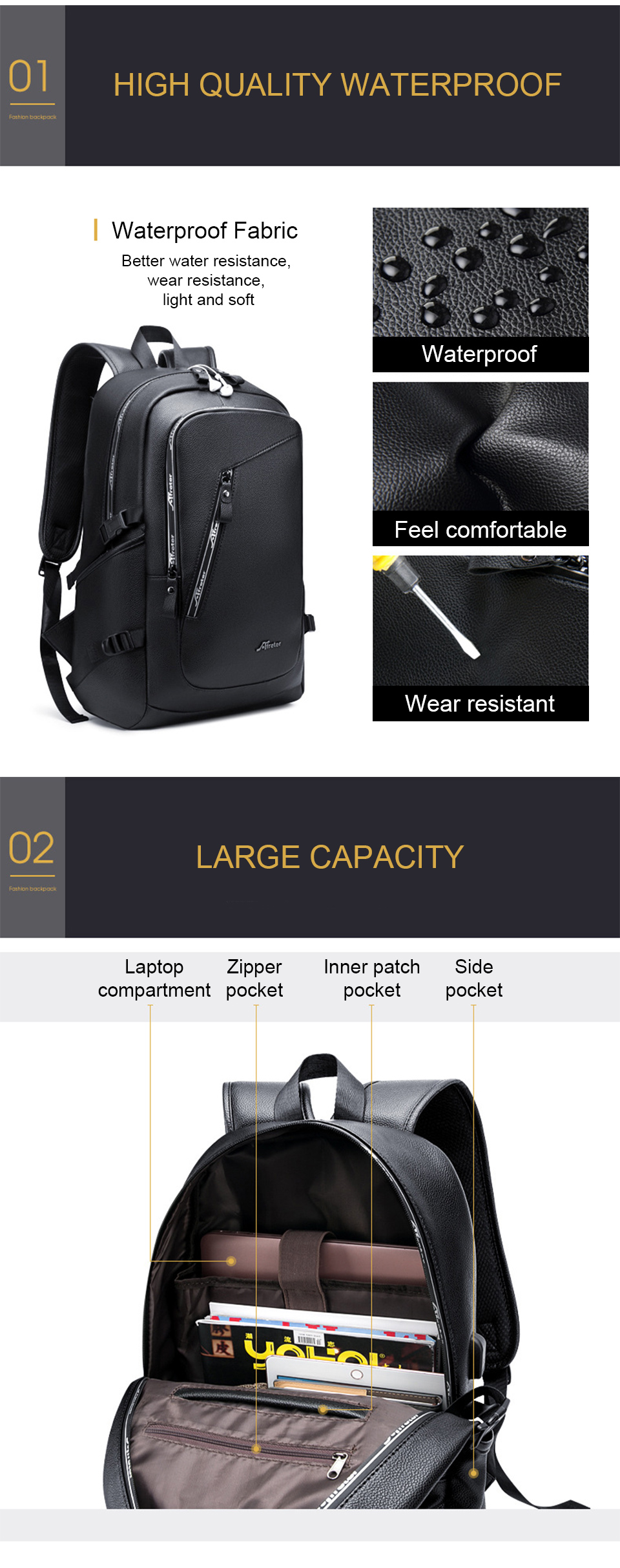Fashion Smart Backpack Men Male Laptop 15.6 Student Backpacks School PU Leather Bagpack Waterproof Notebook USB Charging Bags (3)