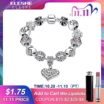 ELESHE Luxury Brand Women Bracelet Silver Color Crystal Charm Bracelet for Women DIY Beads Bracelets Bangles