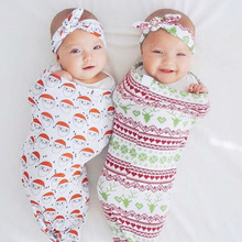 Newborn Swaddle Envelope Blanket Wrap Sleepsack Infant Baby Warmer Christmas-Headband