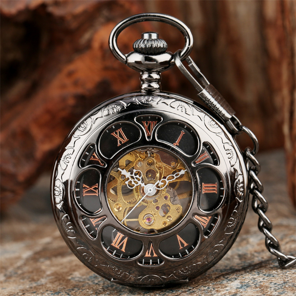 Vintage Black/Silver Hollow Flower Design Mechanical Pocket Watch Retro Hand Winding Pendant Watch Pocket Chain Clock Gifts