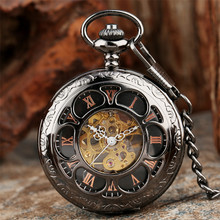 Vintage noir/argent creux fleur Design mécanique montre de poche rétro remontage à la main pendentif montre de poche chaîne horloge cadeaux