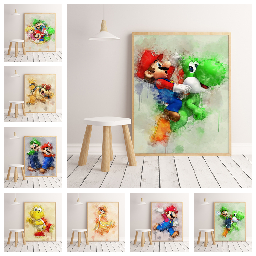 HD Mario Watercolor Poster Home Decoration Hight Quality Canvas Painting Hight Quality Home Decor Nursery Kids Room No Frame 167