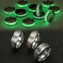 Glowing Ring Jewelry Black Luminous-Ring Stainless-Steel Couple-In-The-Dark Minimalist