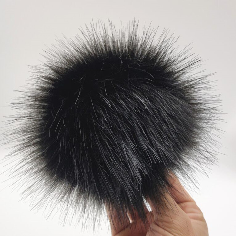 New Winter Fluffy Black Hair Ball 12cm DIY Artificial Fur Pom Pom For Knitted Beanies Cap Hat Shoes And Bags Accessories