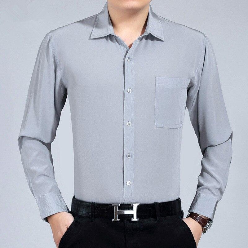 AYUNSUE100% Silk Summer Men Shirt White Black Long Sleeve Shirt Formal Mens Dress Shirts Plus Size Camisa Hombre 3400 KJ1945