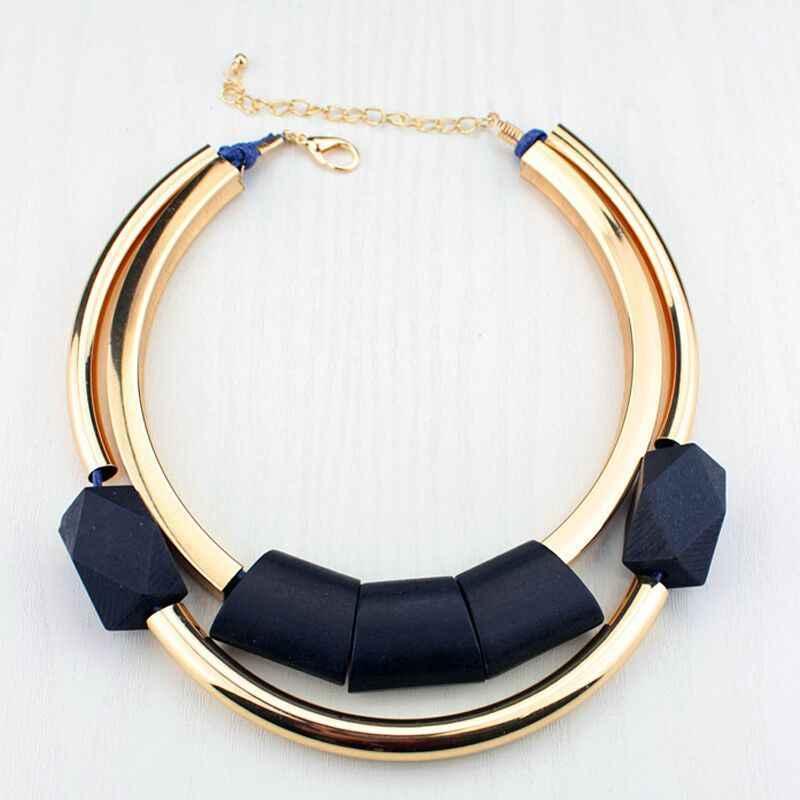 African Vintage Stil Gold Halskette Gedenk Party Schmuck Zubehör Holz Schmuck Charme Frauen Übertrieben Große Halskette