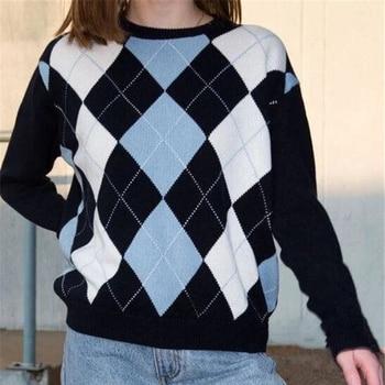 Women Sweater Diamond-Shaped Tops Sweater Tops Pullover Autumn  Lattice Women Pullover Sweater Cute British Style Sweater Top 1