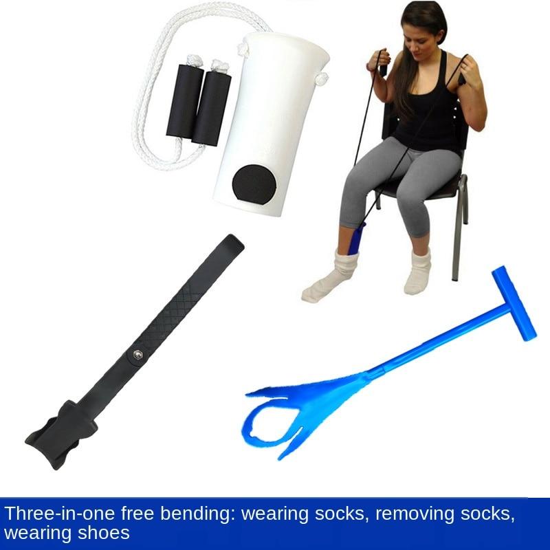 Cintura-livre drawstring stocking aid idosos grávidas meias vestindo máquina dispositivo de reabilitação