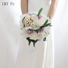 LKY Fr Wedding Bouquet for Bride Bridesmaids Bridal Bouquet White Roses Hydrangea Artificial Flowers Marriage Home Accessories