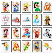 5D Diamond painting Mickey Mouse Winnie Pooh Dumbo Full Square embroidery Cross stitch Car Round mosaic #