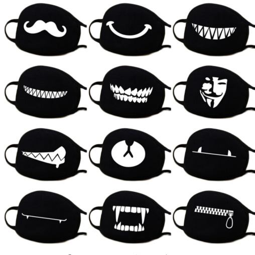 Halloween Mask For Mouth Anti Dust Winter Protective Face Mask Black Anime Mouth Anti Pollution Mask Motorcycle Face Masquerade