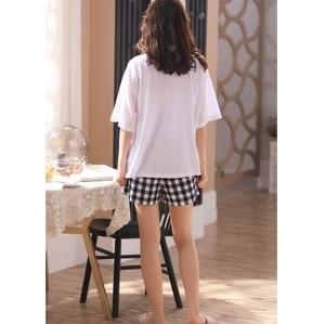 Image 4 - Kobiety dziewczęta odzież domowa ubrania z krótkim rękawem letnie sprawdzone zestawy piżamowe chusta bawełniana bielizna nocna salon O neck odzież wewnętrzna