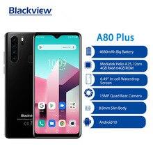 Blackview a80 plus versão global smartphone octa core telefone celular 13mp quad câmera 4gb + 64gb 4680mah bateria android 10 celular