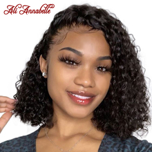 Ali Annabelle Deep Wave Short Bob Wigs Peruvian Lace Front Human Hair Wigs Pre Plucked Hairline Short Bob Wigs Front Lace