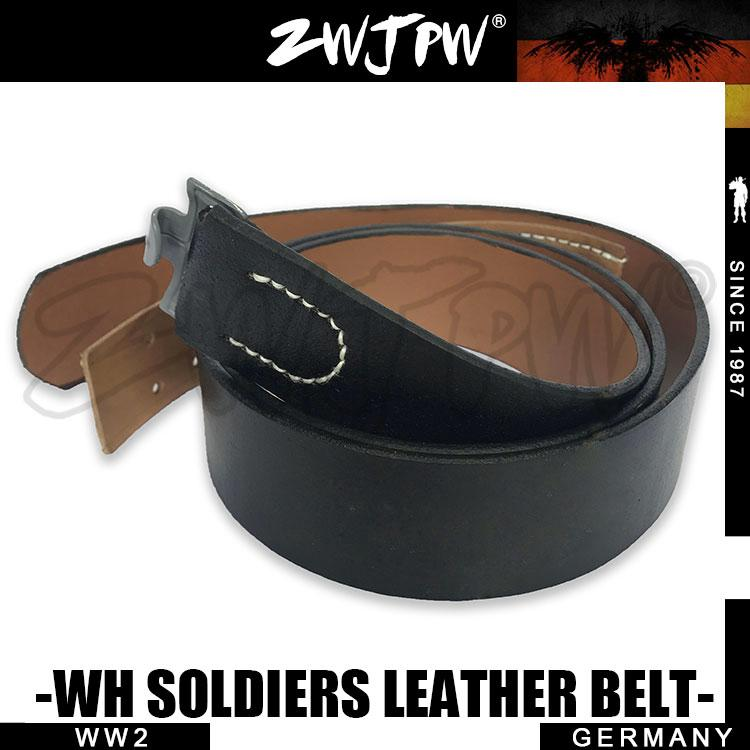 WWII WW2 Solder Leather WH Belt With Silver Button