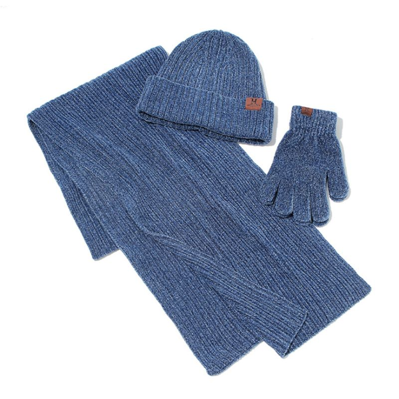 Unisex Winter Ribbed Knit Long Scarf Beanie Hat Touch Screen Gloves 3 Piece Set
