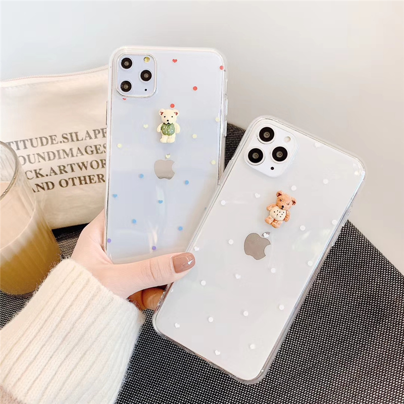 Cuddly Colorful Bear Stereoscopic Case For Iphone Xr Xs Max X Cover Candy Jelly Cute Bear Fundas For Iphone 8 7 6 6S Plus Coque