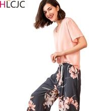 Женская Хлопковая пижама с принтом, пижама с короткими рукавами и длинными штанами, домашний костюм, женские пижамы, комплект из 2 предметов, лето 2020