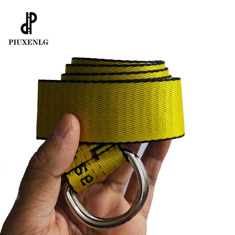 Żółty haft w stylu Harajuku płótno list podwójny pierścień klamra długi biały pasek paski damskie dla kobiet luksusowy projektant OFF pasy GG