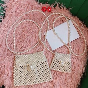 Handmade Pearl Bags Women Handbags Ladies Evening Party Shoulder Bag Elegant Beaded Messenger Crossbody Bags MIni Phone Purse цена 2017