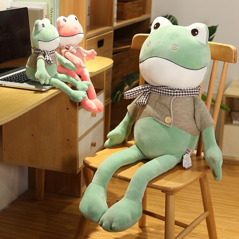 Kawii-jouet amusant à jambes longues grenouille avec écharpe, peluche douce, poupées de dessins animés, pour enfants, accompagnez garçons, meilleurs cadeaux