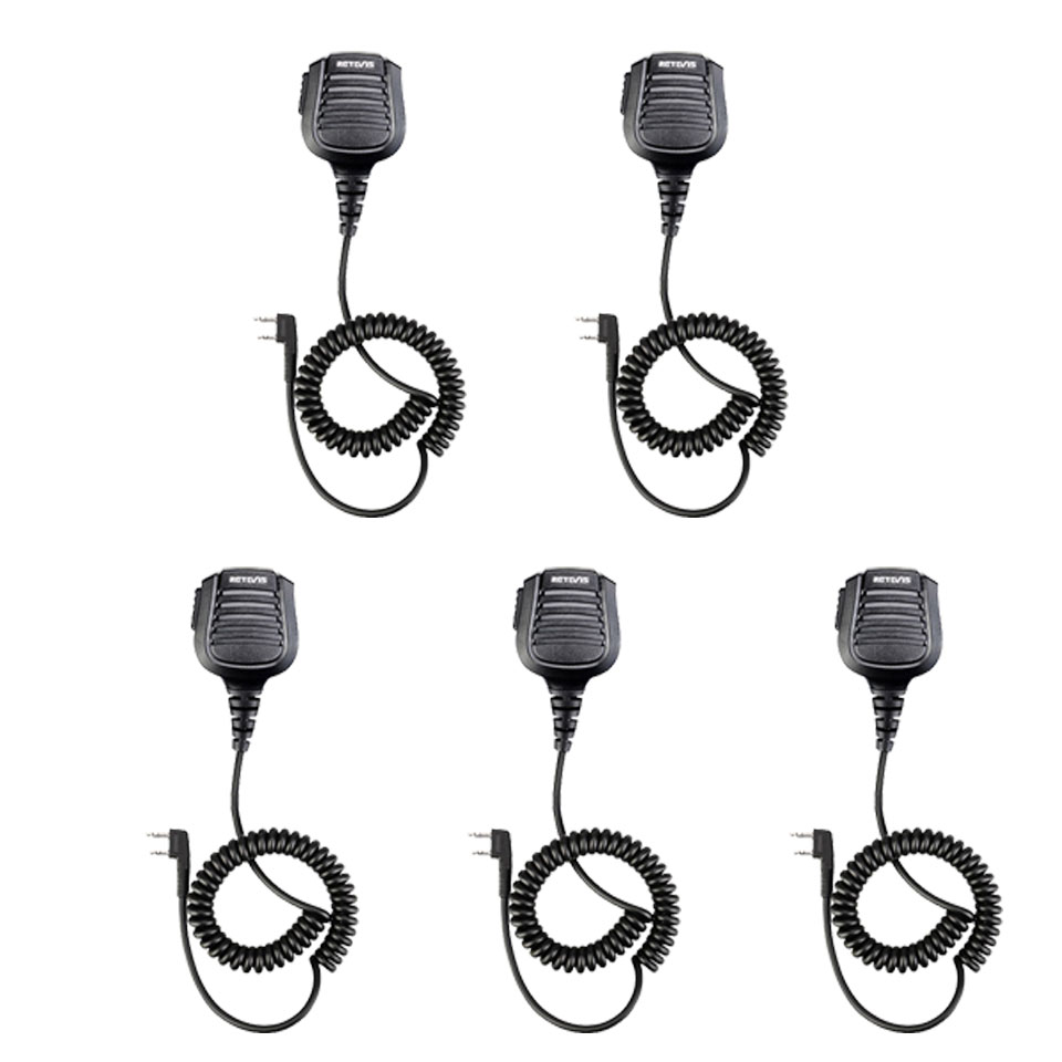 5pcs New Black Retevis 2 Pin Speaker Mic Microphone For Kenwood  Baofeng TYT Retevis Two Way Radio C9075B