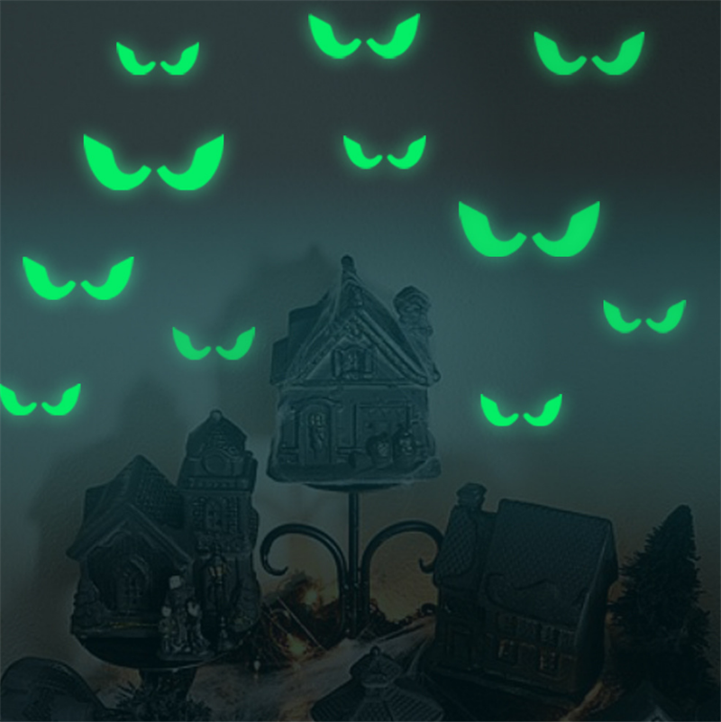 18Pcs/set 2019 Luminous Glowing In The Dark Eyes Wall Glass Sticker Halloween Decoration Decals Luminous Home Ornaments- Green