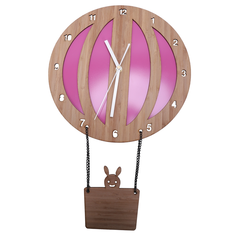 Bamboo Hot Air Balloon Wall Clock Children's Room Cartoon Modern Creative Quartz Table Mute Hanging Wall Clocks