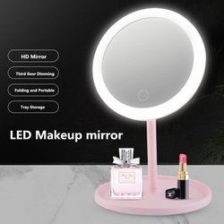 Vanity Mirror LED Mirror Face Makeup Mirror Adjustable Touch Screen Makeup Mirror LED USB Vanity Mirror Table Cosmetic Mirror