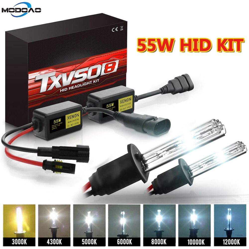 2pcs 12V 55W Xenon H7 HID Conversion Kit H1 H3 H11 9005 Bulb Auto Car Headlight Lamp 3000k 4300k 500