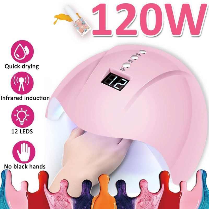 Trasporto di goccia 120W LED UV Nail Polish Dryer Lampada Portatile Luce Del Gel Acrilico Professionale Kit Smart Unghie